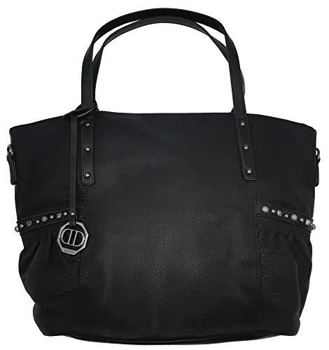 Dudlin Shopper Tasche Nieten seitlich Handtasche Shopperbag (schwarz)