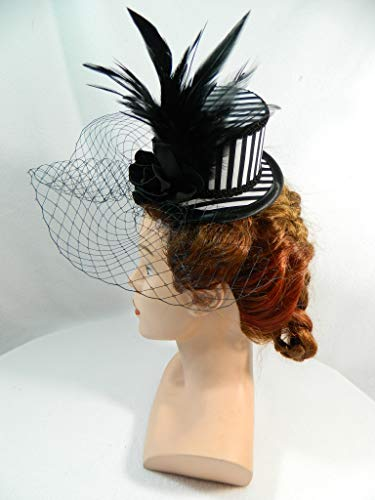 Mini Zylinder schwarz weiß Streifen Gestreift Hutnetz Damenhut Tophat Fascinator Gothic