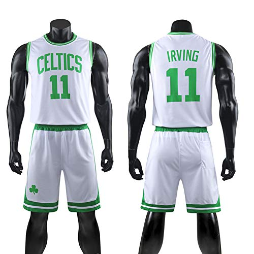 Dybory Kinder und Erwachsene Basketballtrikot Anzüge Boston Celtic #11 Irving Retro Swingman Trikots Fans Training Top + Shorts bequem atmungsaktiv weiß S (115~125cm)