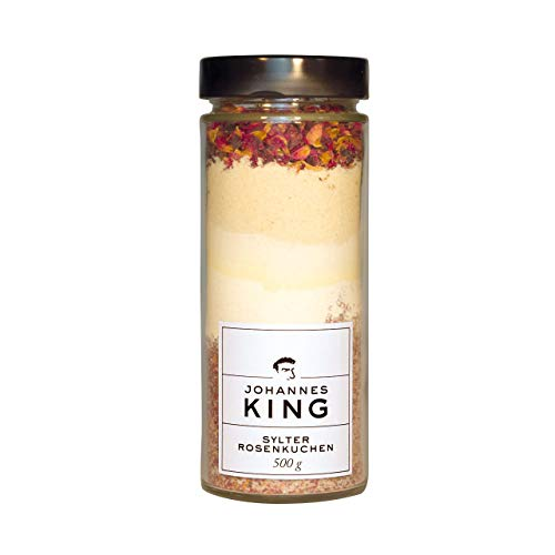 Kings Sylter Rosenkuchen, Gourmet-Backmischung im Glas, Backmischung mit hochwertigen Backzutaten, das ideale Geschenk