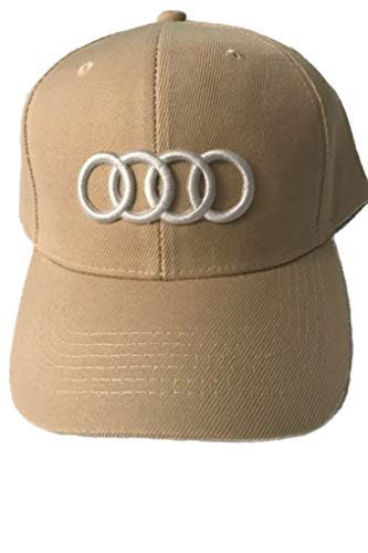 Car Logo Adjustable Baseball Cap, Unisex Hat Travel Cap Car Racing Motor Hat for Audi-khaki. New!