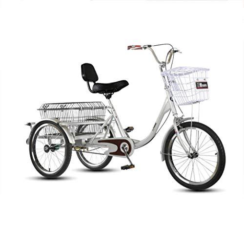 Bicicleta de Tres Ruedas para Adultos con Tres Ruedas, Pedal de Bicicleta de Paso para Adultos Mayores con Canasta Grande, Compras, Marco Delantero, Acero con Alto Contenido de Carbono, Carga 160 kg