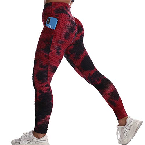 Women Scrunch Butt Leggings Textured Anti Cellulite Leggings with Pockets Sexy Booty Lift Yoga Pants