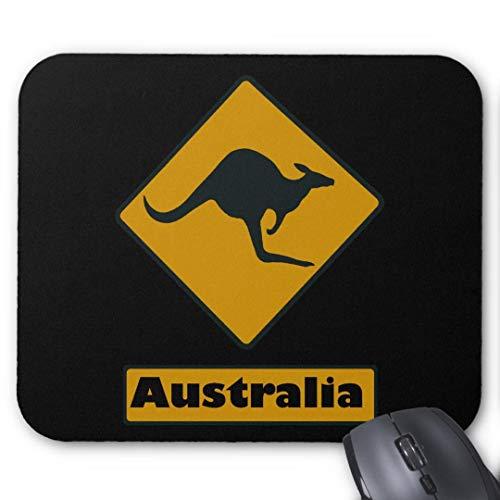 Mouse-Pad 24*20cm   Qualit?ts-Mauspad aus strapazierf?higem Kunststoff mit rutschfester Unterseite aus Zellkautschuk - passend f¨¹r alle g?ngigen Mouse-Australien Schild K?nguru Kreuzung
