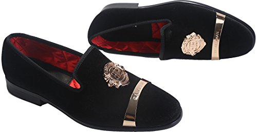 ELANROMAN Men's Velvet Loafers Dress Fashion Wedding Party Prom Shoes