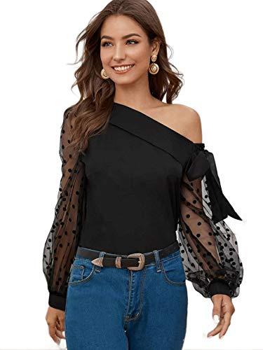 Elyraa Casual Western Stylish Net Polka Dot Sleeves Top for Jeans Women/Girls