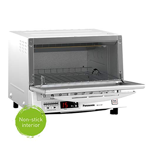 Product Image 5: Panasonic FlashXpress Compact Toaster Oven with Double Infrared Heating, Crumb Tray and 1300 Watts of Cooking Power – 4 Slice Countertop Toaster Oven – NB-G110P-W (White)