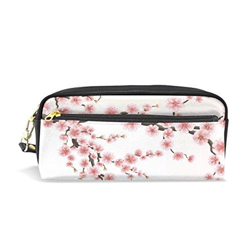 Trousse à crayons, Cerise Rose Imprimé floral Voyage Maquillage Pouch Grande capacité étanche Cuir 2 compartiments pour filles garçons femmes Hommes
