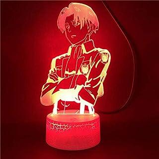 Lámpara De Ilusión 3D Luz De Noche Led Attack On Titan Capitán Levi Ackerman Figura Para Niños Decoración De La Habitación Del Niño Lámpara De Mesa Colorida Regalo