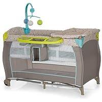 Hauck Babycenter - Cuna de viaje para bebé, incluye elevador para recién nacidos, cambiador, movil, cesta portapañales, ruedas, colchón, bolsa de transporte, Multi Dots Sand (multicolor)