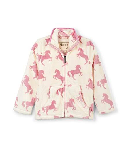 Hatley Mädchen Fuzzy Fleece Jackets Jacke, Weiß (Playful Horses 100), 4 Jahre (Herstellergröße: 4)