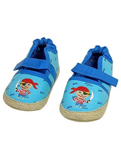 maximo Baby-Lauflernschuhe für Jungen, blau Capri mit Motiv Pirat, Anti-Rutsch-Sohle, 100% Co … (18 (6-9 Monate))