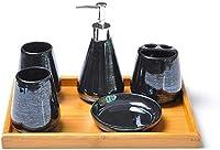 漏れ防止と耐久性の石鹸ディスペンサー ソープディスペンサーセラミックバスアクセサリーセット - カラフルな真珠、バスルームの装飾など、歯ブラシホルダー、カップ、ソープボックス - パーフェクトバスルームの装飾 ASDDD (Color : Black, Size : With tray)