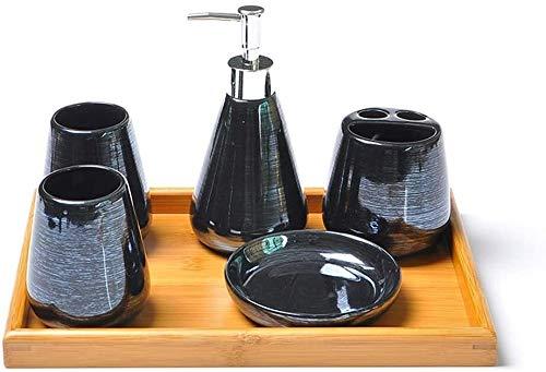 Dispensadores de jabón de encimera de baño, Dispensador de jabón de baño de cerámica Set de accesorios - perlas de colores, decoraciones incluyendo baño cepillo de dientes titular, Copa, Soap Box - Pe