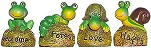 Garden Tortoise Statues,Tortoise Figurines, Snail Statues, Frog Statues, Caterpillar Statues,Outdoor Statue,Mini Statue,Resin Statues,Yard Decor,Home Decor,Office Decor,Set of 4