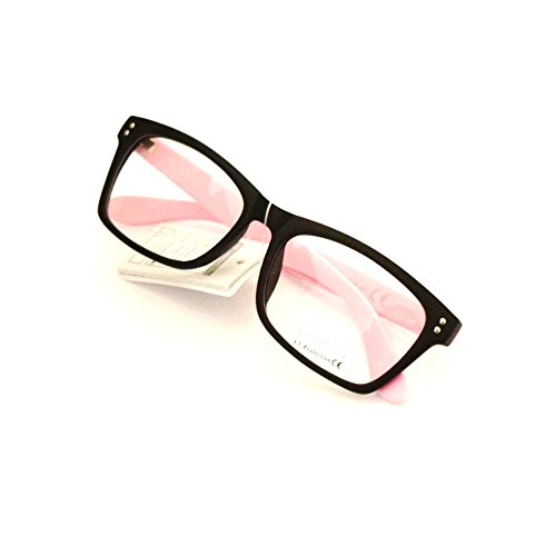 Gafas de pasta sin graduar unisex con funda 43MM (Negro-patilla rosa)