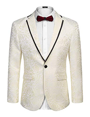 COOFANDY Men's Rose Floral Suit Jacket Blazer Weddings Prom Party Tuxedo Gold