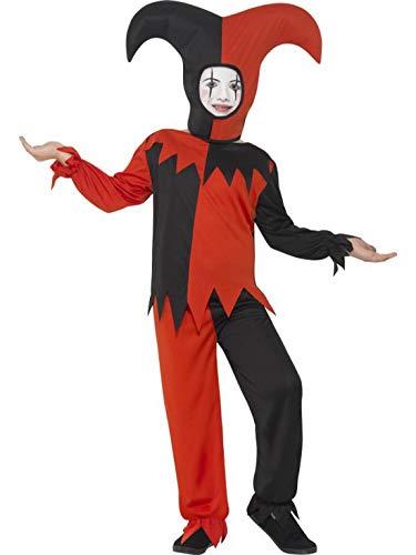 erdbeerclown - Mädchen Kinder Kostüm Verrückter Hofnarr Narr Clown Harlekin mit Shirt Hose und Kappe, Crazy Creepy Jester, perfekt für Halloween Karneval und Fasching, 104-116, Rot
