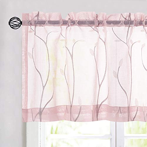 """jinchan Sheer Valance Floral Embroidered for Kitchen Living Room Sheers Embroidery Voile Rod Pocket 1 Panel 55"""" W 16"""" L Pink"""