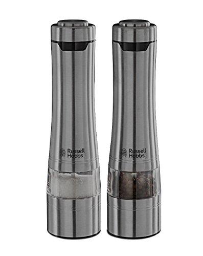 Russell Hobbs Classics - Molinillos de Pimienta y Sal Electricos (Sistema Molido Cerámico, Acero Inoxidable, Gris Plateado)...