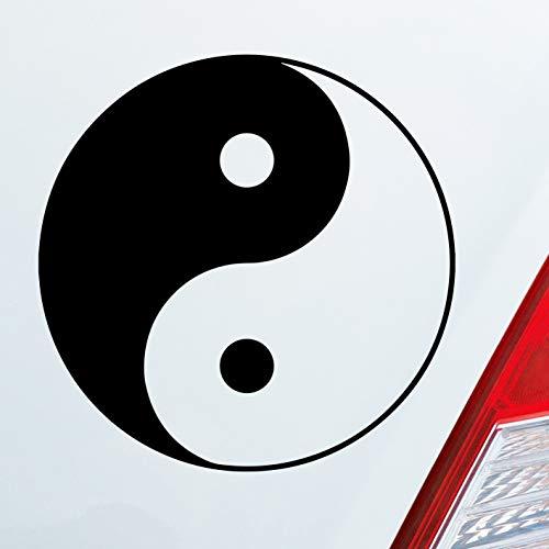 Auto Aufkleber in deiner Wunschfarbe Yin und Yang Symbol LKW KFZ 10x10 cm Autoaufkleber Sticker Folie