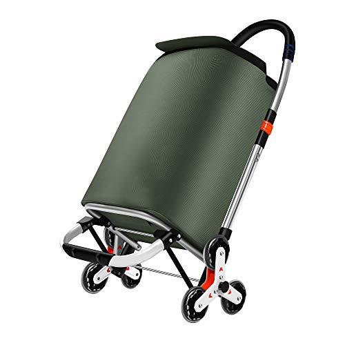 Carro para la compra plegable, sistema de 3 + 3 ruedas, escalera, fabricado en aleación de aluminio con bolsa de robusto poliéster impermeable, aceitunas