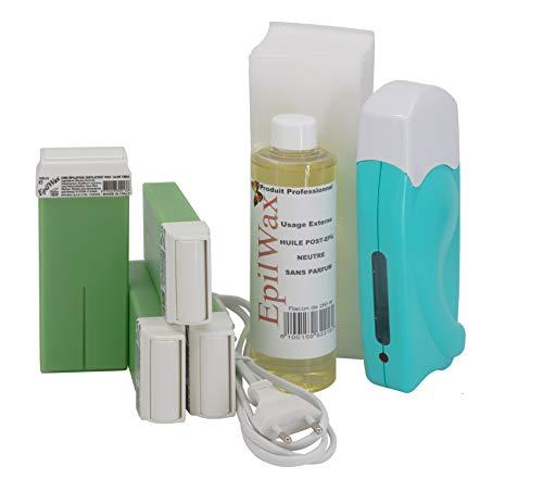EpilWax Wachswärmer Waxing Set für Enthaarung Haarentfernung - Mit 4 Aloe Vera Roll On Wachspatronen, Waxing Gerät, 100 Vliesstreifen und Nachbehandlungsöl