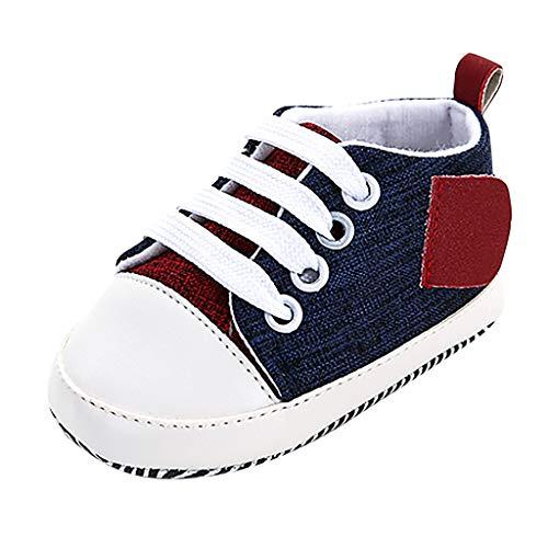 WEXCV Baby Unisex Mädchen Jungen Schuhe Nähen Segeltuchschuhe Prinzessin Herbst Elegant Modisch Süß Krippe Lauflernschuhe Casual Weiche Sohle für 0-24 Monate