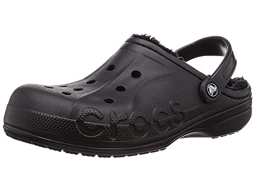 Crocs Unisex Men's and Women's Baya Lined Clog | Fuzzy Slippers, Black/Black, 10 US