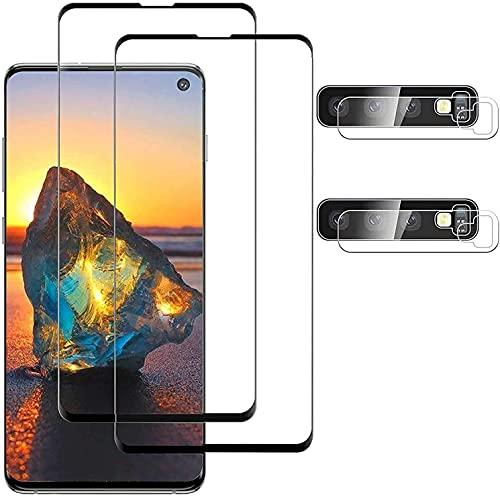 [2+2 pezzi] Pellicola salvaschermo in vetro temperato per fotocamera compatibile con Samsung Galaxy S10 Plus,compatibile con impronte digitali a ultrasuoni,durezza 9H,3D curvo(6,4 pollici)