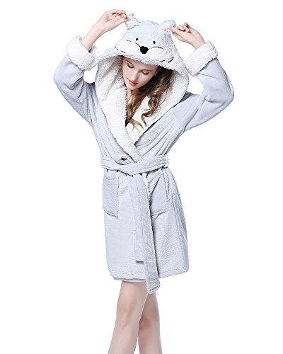 NEWCOSPLAY Adult Unisex Animal Hooded Pajamas Robe Costume (Small-Medium, Gray Fox)
