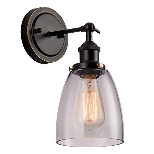 Aplique de pared industrial Negro Luminaria moderna Lámpara de vidrio Lámpara de pared de sombra GLADFRESIT Cabezal ajustable para sala de estar interior (bombilla no incluida) (Gris humo)