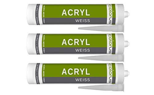 3 x Colorus Acryl-Dichtstoff | Maleracryl weiß | Fugendichter 310 ml | Acryl-Dichtmasse für Fugen und Risse | Bauacryl überstreichbar, hochwertige Acryldispersion | Alterungsbeständig