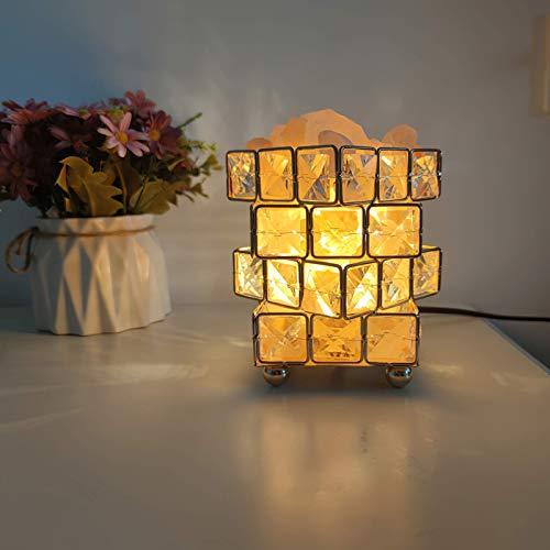 Salt Lamp Cube Natural Himalayan Pink Crystal Therapeutic Rock Small Mineral UK Plug Light Dormitorio, Oficina, Exterior, Camping, Lámpara de Yoga, Decoraciones para el hogar (Incluye Bombilla G9, CU