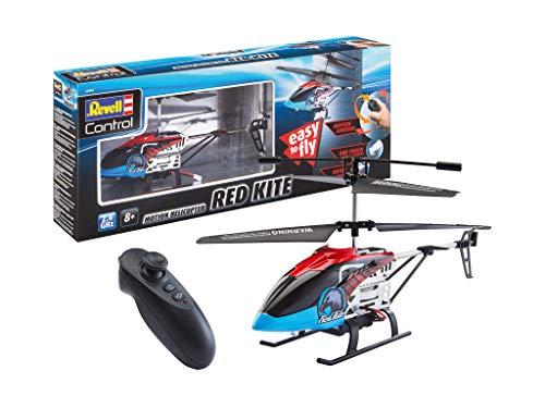 Revell 23834 RC Hubschrauber Motion Control Heli Red Kite, 2.4GHz, Steuerung über Bewegung, Akku, LED-Beleuchtung Auto, rot, One Size