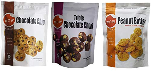 Wow Baking Moist, Chewy, Delicious Cookies | Certified Gluten Free | Simple All Natural Ingredients | 3 Pack Assortment (Chocolate Chip, Triple Chocolate & Peanut Butter)