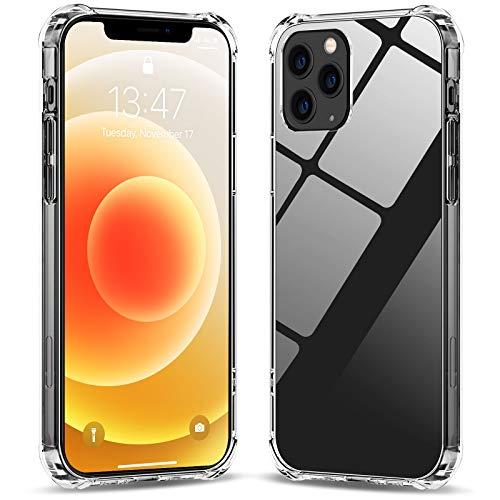 Babacom Kompatibel mit iPhone 12/12 Pro Hülle (6,1 Zoll), Dünne Handyhülle mit Stoßfest Bumper, Antigelb Harte PC Rückseite, Weiche TPU Rahmen