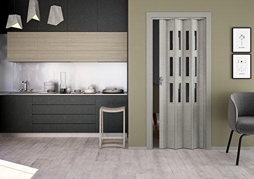 Kunststoff-Falttür Elvira 3D-Farben 202x87 cm mit 3 Cristall-Fenster (grau gewebt)