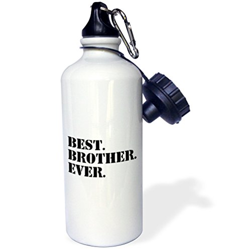 3dRose Unisex's Best Ever-Gifts for Brothers-Black Text-Water Bottle, 21 Oz (wb_151482_1), Wh
