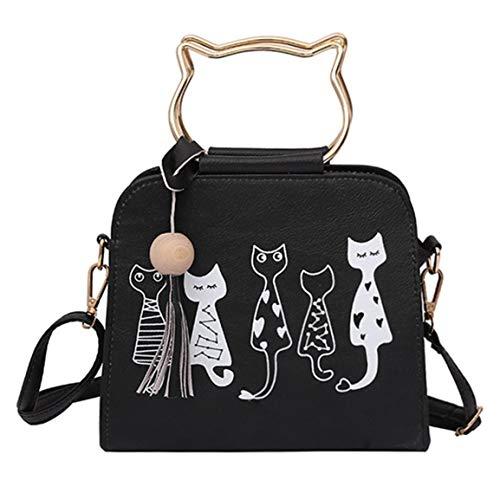 MOHAN88 Bolso Personalizado con Forma de Conejo Bolso con Estampado de Animales Bolso de Hombro de Gato de Cuero de Moda para Mujer - Negro