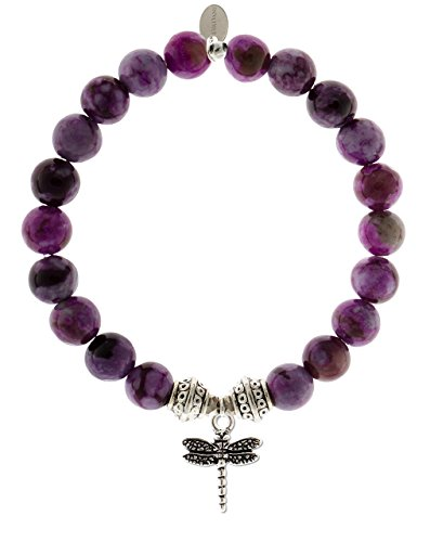 EvaDane 1_Sug_S_T_DRA_7 Natural Semi Precious Sugilite Gemstone Tibetan Bead Dragonfly Charm Stretch Bracelet