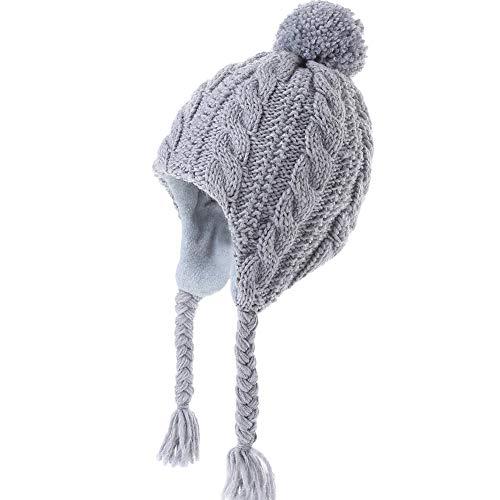 Monimo Mädchen Mütze Stricken Verdicken Ohrenschützer Hut Warm Wintermütze für Kinder, Grau, 3-5Jahre (Herstellergröße: 53)