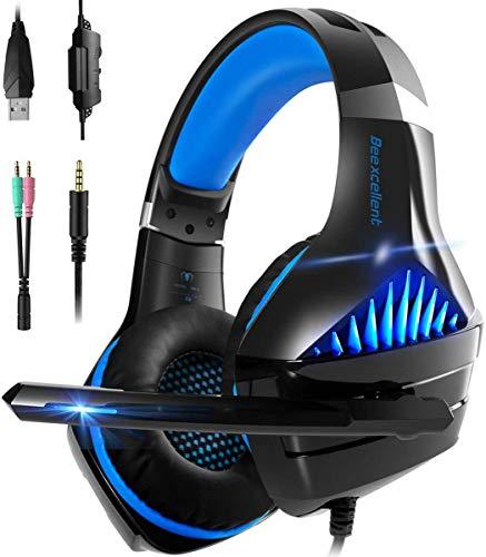 Gaming Kopfhörer für PS4, PC, Xbox One,Super Komfortable Stereo Bass 3.5mm Gaming Headset Kopfhörer mit Mikrofon für Pc,Laptops,