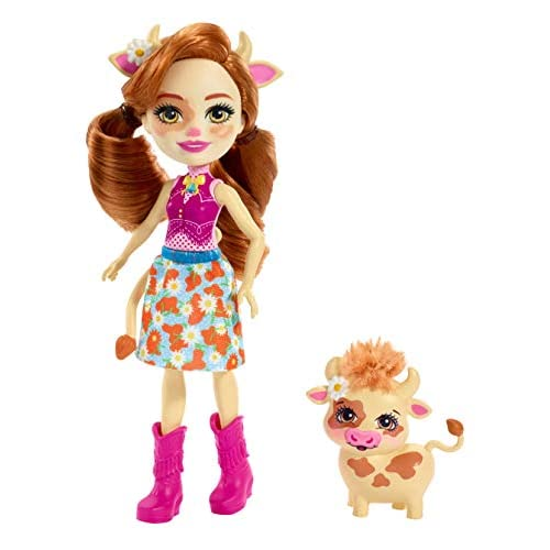 Enchantimals - Cailey Mucca con Animale Giocattolo per Bambini, Multicolore, FXM77