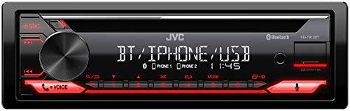 JVC KD-T812BT - Receptor de CD con Manos Libres BT (Alexa Integrado, sintonizador de Alto Rendimiento, procesador de Sonido, USB, AUX, Control de Spotify, 4 x 50 W, iluminación de Teclas Rojas)