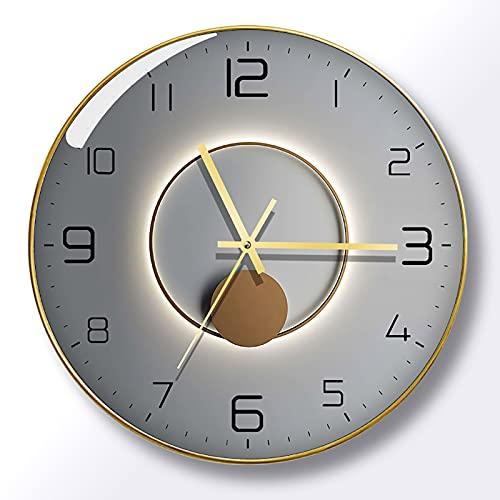 WANGFENG Reloj de Pared de Sala de Estar silencioso con luz y Sombra, Reloj de Cuarzo con Personalidad roja roja, Reloj de Pared de Lujo con luz Simple, Reloj