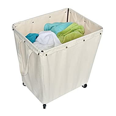 HOMZ Heavy Duty Industrial Style Laundry Hamper, Casters, Khaki Canvas Liner, 5 Load Capacity