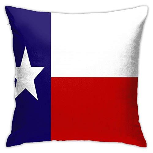 JONINOT Doble Cojines Fundas 18' Bandera de Texas Funda de Almohada Suave para la Piel