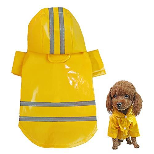 pawstrip Chubasquero transpirable para perro, impermeable, con tiras reflectantes, ajustable, con capucha, para cachorro, pequeño, mediano y grande (amarillo, S)