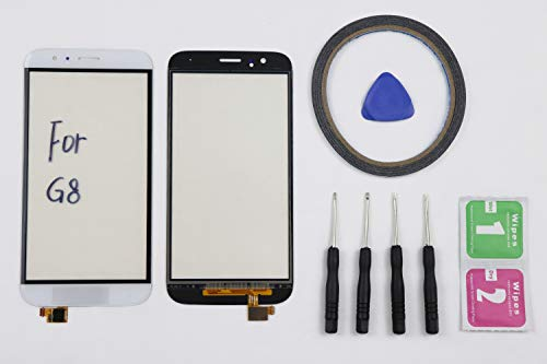 JRLinco Para Huawei G8 RIO-L01 RIO-L02 Pantalla Táctil de Cristal,Touch Screen Digitizer Outer Glass Replacement (Sin LCD Display) para Huawei G8 Blanco + Herramientas y Adhesivo
